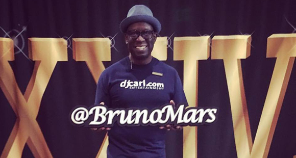 DJ Carl© performs at Bruno Mars concert