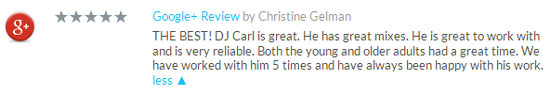 DJ Carl gets a Google review
