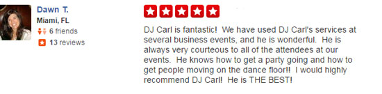 dj carl yelp review image