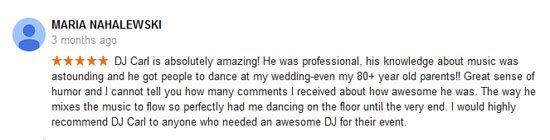 gDJ Carl© Wedding Google Yelp review