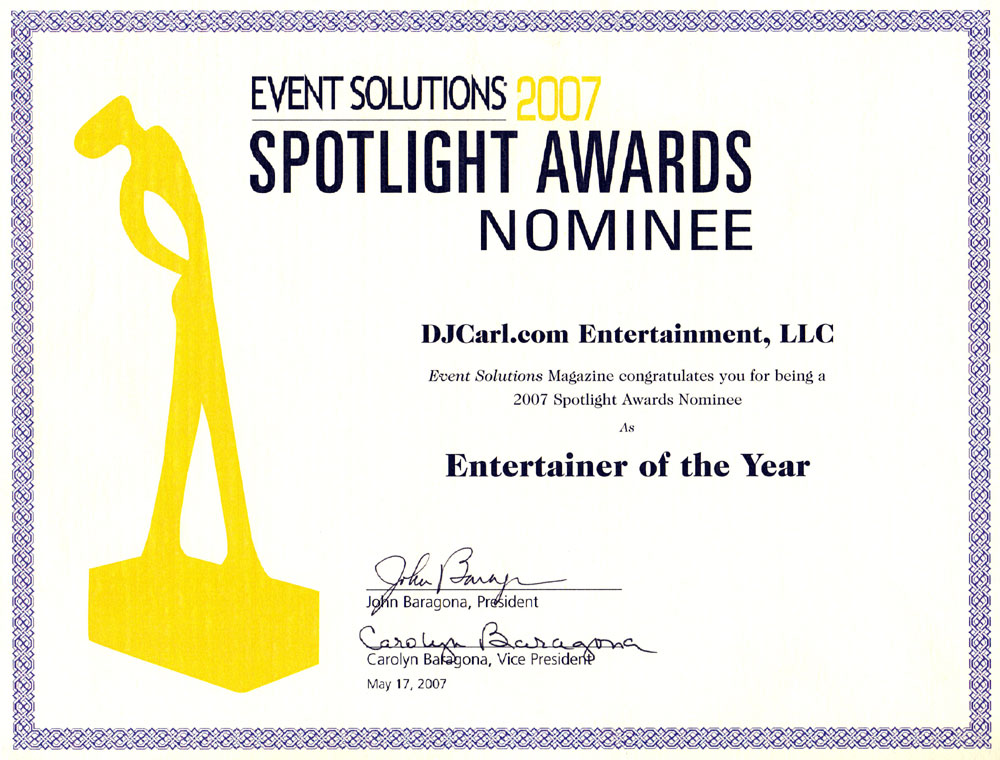 dj carl entertainer of the year certificate image