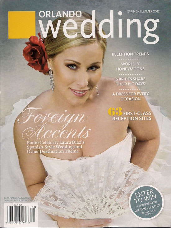 Orlando Wedding magazine cover featuring radio celebrity DJ, Laura Diaz