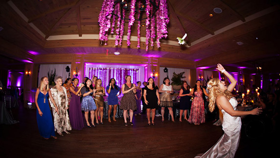 Ritz Carlton Sarasota wedding bouquet toss