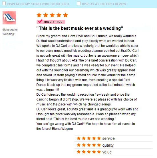 Ritz Carlton Sarasota Wedding testimonial