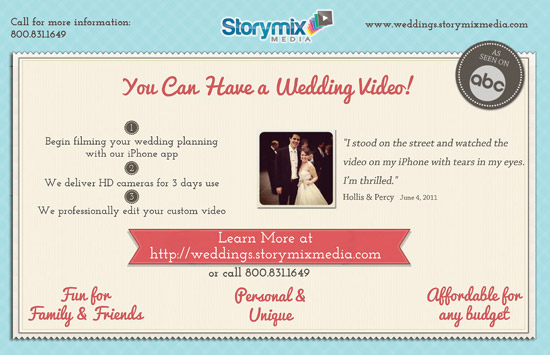 Front of Storymix wedding video postcard